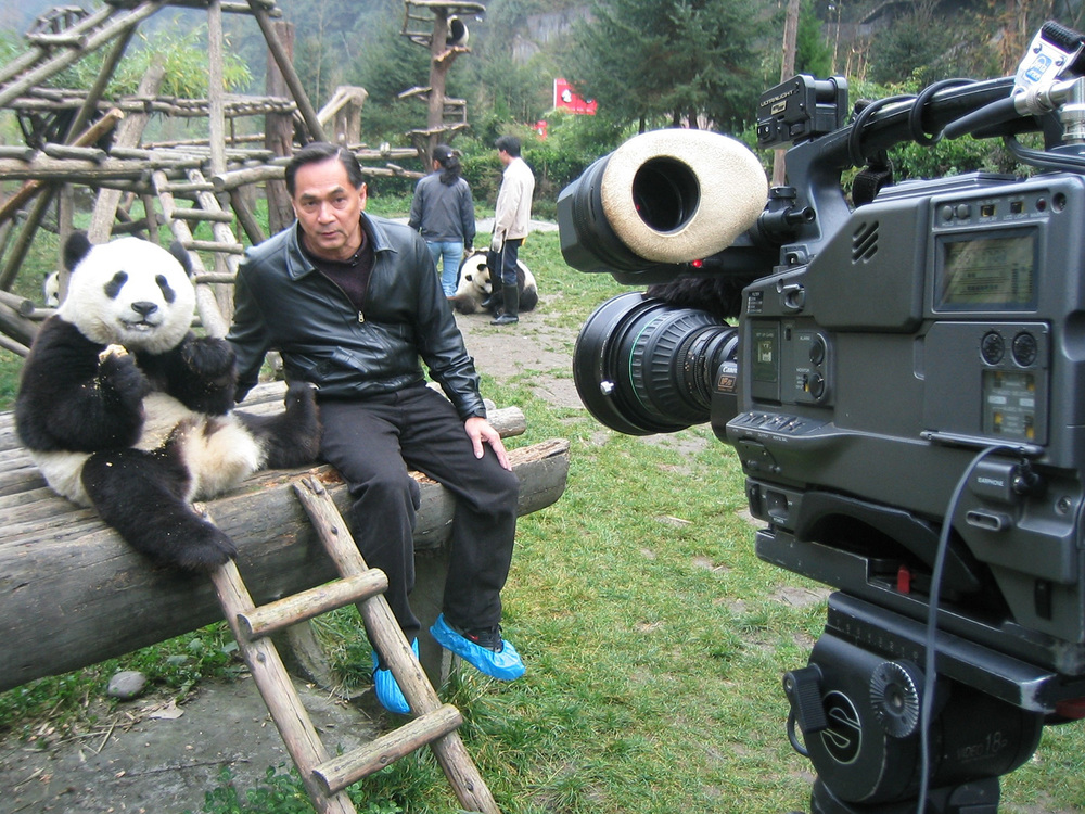 Shooting a panda story for CNN. This was a rare opportunity since the panda could not keep still for more than 10 seconds.  (Photo courtesy of Jaime FlorCruz)