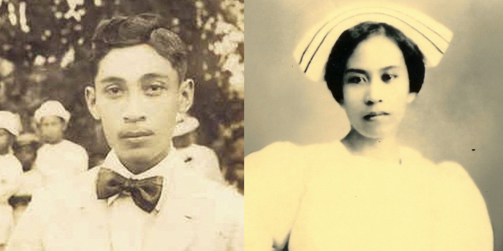 Left: Modesto Aquino, San Fernando, La Union, early 1920s. Right: Teresa D. Ancheta as a nursing student at PGH, 1916  (Photos courtesy of Dr. Belinda Aquino)