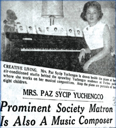 "Manila Chronicle's Virginia Benitez Licuanan called Paz  Sycip Yuchengco ""the talent discovery of the year"" in 1963. (Photo courtesy of the Yuchengco family)"
