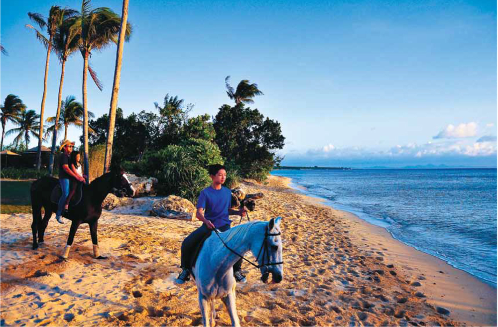 Family Fun: Activities range from archery lessons at the state-of-the-art Sports Center, to wellness in Zen-inspired spa suites, to horseback riding on the beach.  (Source: Mabuhay Magazine)