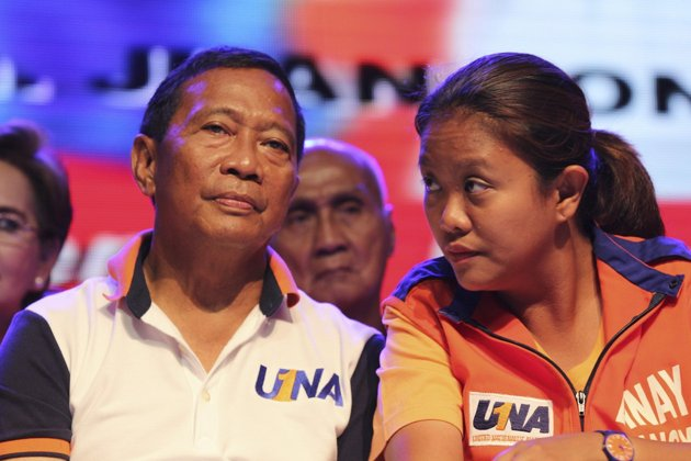 Philippine Vice President Jejomar Binay and Senator-elect Nancy Binay (Source: Yahoo Philippines)