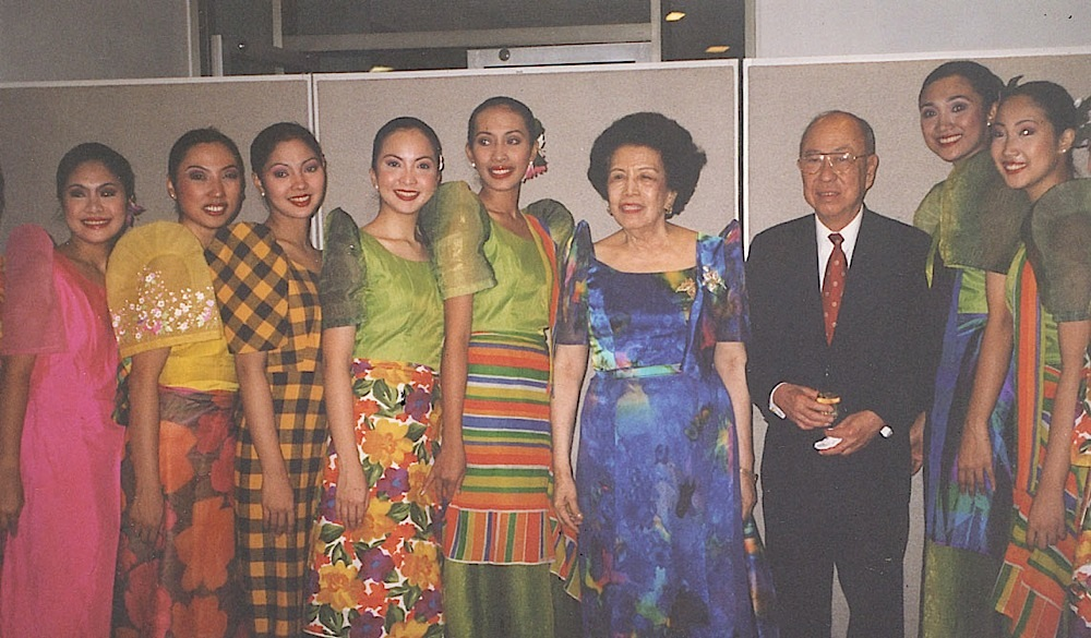 Helena Z Benitez with Ambassador Alfonso Yuchengco, chairman of the board of the Bayanihan Dance Co., and Bayanihan dancers at the United Nations in New York