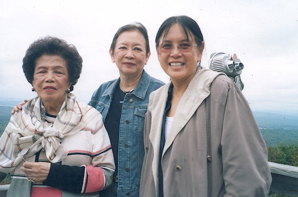 "Tita Helen with Rosary Benitez and Bebet Benitez-McClelland at ""Castle-in-the-clouds"" in New Hampshire"