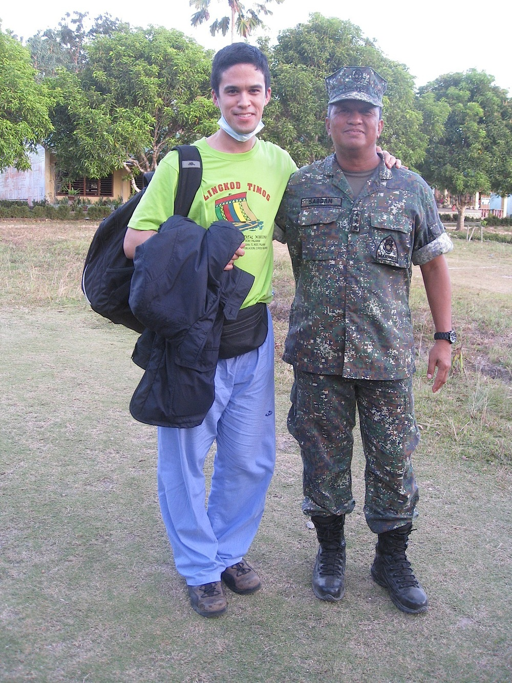 Tiago with Liutenant General Juancho Sabban, who oversees the Western Command of the Armed Forces of The Philippines, which provided security and logistics for the medical mission. (Photo courtesy of Tiago Villanueva)