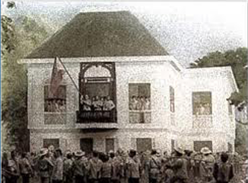 Declaration of Philippine Independence and flag raising ceremony at the Aguinaldo mansion, June 12, 1898.