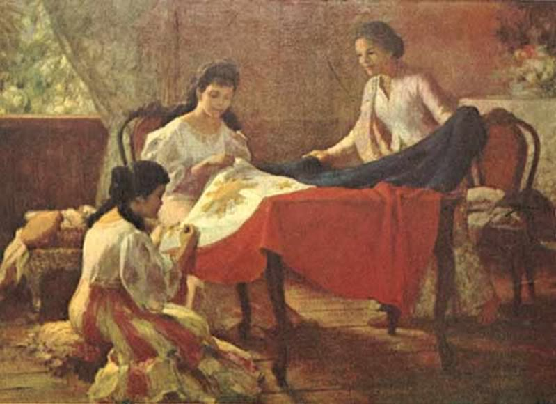 Fernando Amorsolo's painting, depicting the making of the Philippine flag