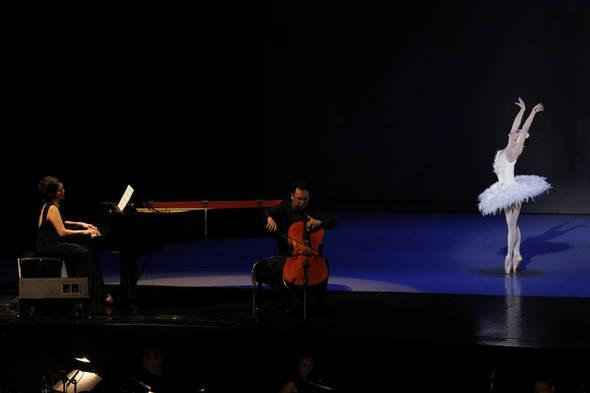 "Cecile Licad with cellist Willi Pasamba and prima ballerina Lisa Macuja-Elizalde doing the famous ""Dying Swan."""