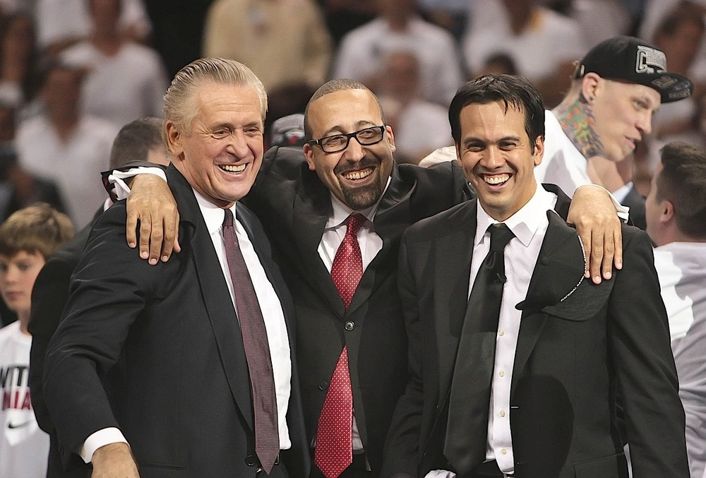 Miami Heat president Pat Riley, assistant coach David Fizdale and head coach Erik Spoelstra celebrate their back-to-back NBA championship in Miami.  (Source: AP)