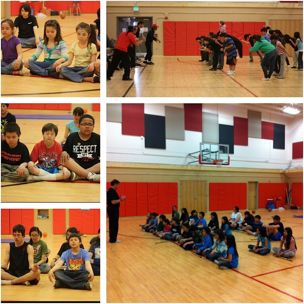 The Eskabo Daan Filipino Martial Arts school teaching kids meditation, exercise and martial arts  during the Tanana 4-H Martial Arts program in Alaska (Photo courtesy of Eskabo Daan)