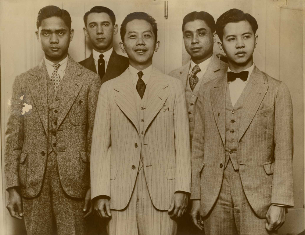 "As coach of the UP debate team (L-R Deogracias Puyat, Pedro Camus, Carlos P. Romulo, Jacinto Borja and Teodoro Evangelista), which went around the world in 1928, Romulo began to win fame abroad. ""Everywhere we went we were royally entertained and warmly welcomed,"" he wrote in his autobiography. ""And we won every debate."" (Photo courtesy of Romulo family)"