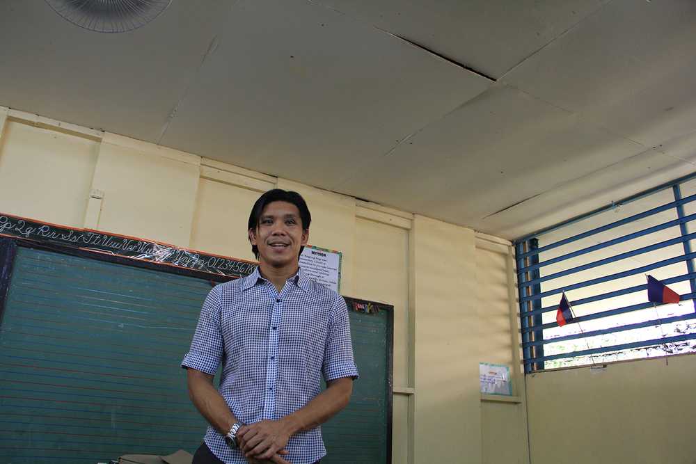 Navarra at his public school classroom  (Photo by Aurora Almendral)