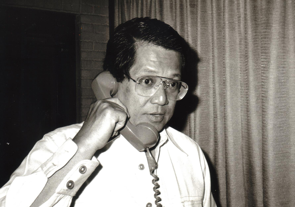 Aquino at the Taipei Grand Hotel, 1983 (Photo courtesy of Ken and Lupita Kashiwahara)