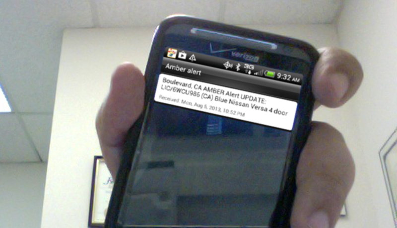 One of Fernandez's inventions: the local emergency alert for cell-phone users  (Photo by Raymond Virata)