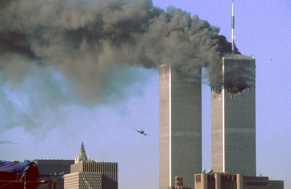 Two jetliners crash into the World Trade Center on Sept. 11, 2001 (Source: The Atlantic)