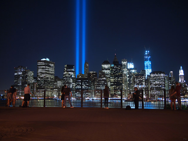 88 searchlights placed next to the site of the World Trade Center create two vertical columns of light in remembrance of the September 11 attacks. (Photo by beanhead4529/Flickr)