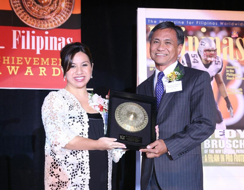 Maj. Gen. Antonio Taguba honored as Public Affairs awardee at 2008 Filipinas Magazine Achievement Awards. With presenter Natalie Aliga of AAA of Northern California, Nevada and Utah  (Source:  Filipinas Magazine  November 2008 issue, photo by Paulino Love)