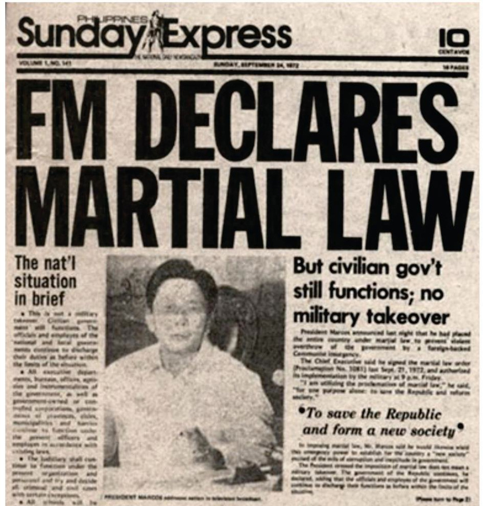 President Marcos declares Martial Law in Philippines, Sept. 21, 1972 (Source: gov.ph)