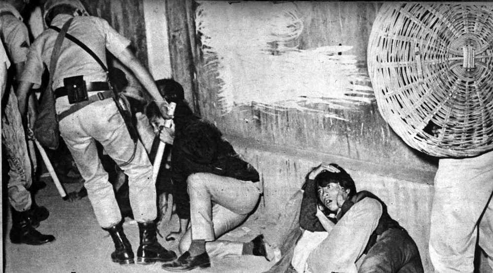 Police take action against the activists during the First Quarter Storm protests in 1970. Marcos used the need to restore order as justification for martial law. (Source:fqslibrary.wordpress.com)
