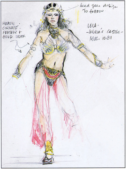 Princess Leia's slave girl costume (Source: The Art of Return of the Jedi)