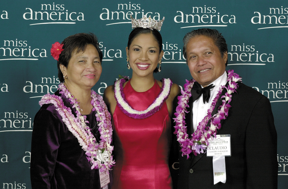 Miss America 2001 Angela Baraquio with her parents Rigolette and Claudio (Source; Filipinas Magazine, April 2001, photo from Miss America Organization)