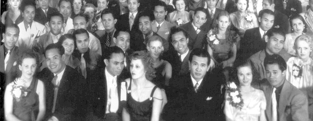 Bachelors' club dinner parties were occasions for manongs to show off their girlfriends and dates.  (Source: FANHS Stockton, Pangasinan Association of Los Angeles)