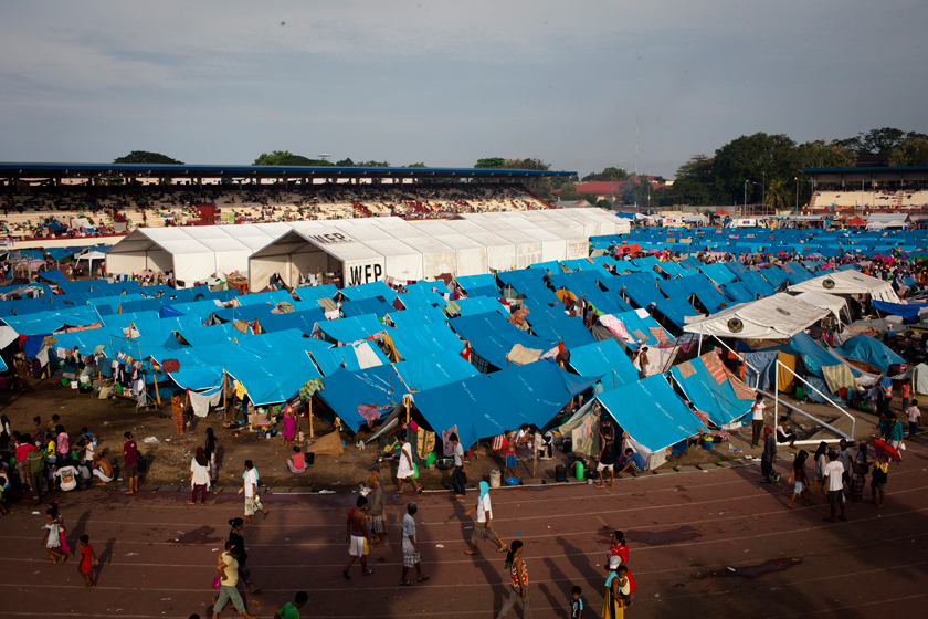 The Joaquin Enriquez Memorial Complex was turned into an evacuation center. (Photo by Rick Rocamora)