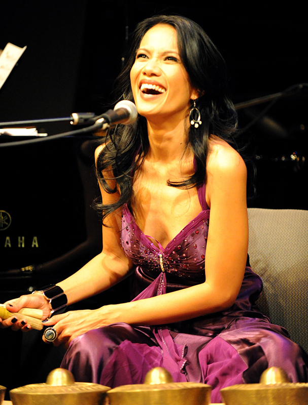Jazzipino artist Charmaine Clamor on the  kulintang   (Photo by Scot Mitchell)