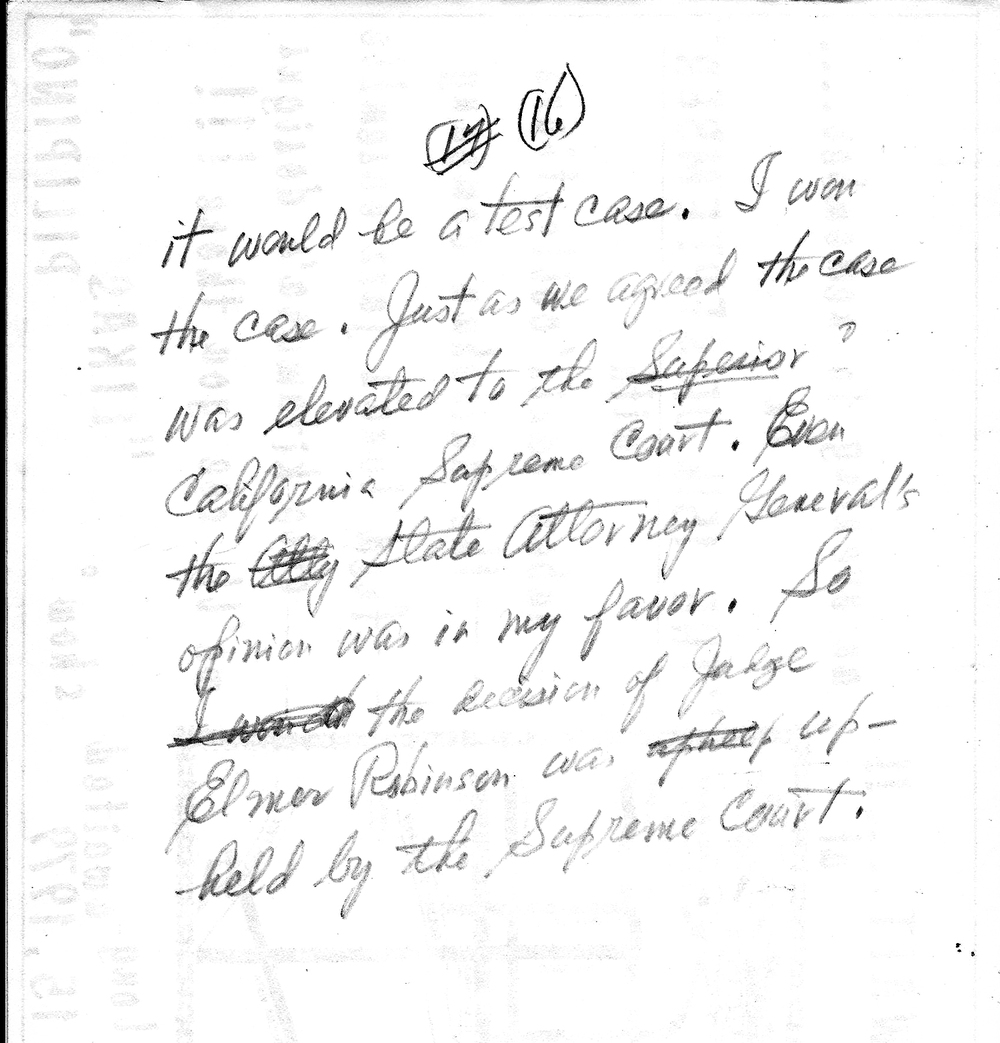 Alfafara's handwritten journal entry regarding his case on his right to acquire property in San Mateo (Photo courtesy of Lisa Melnick)