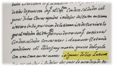 "The English translation of the sentence reads: ""I landed with twelve soldiers, with Loyola carrying a cross in his hands, preceding with some Luzon Indians, with their swords and targets."""
