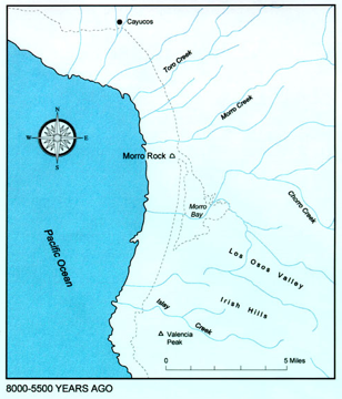 Map depicting Morro Bay at the time of the Great Ice Age