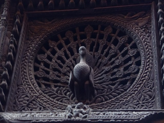 An exquisitely carved wooden peacock window in Dattatraya Square (Photo by Paulynn Sicam)