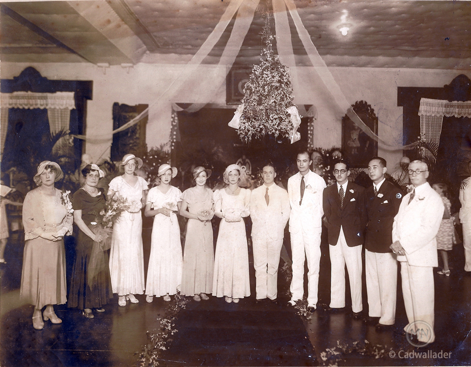 Bill and Billie Cadwallader's wedding at the Manila Polo Club, circa 1932