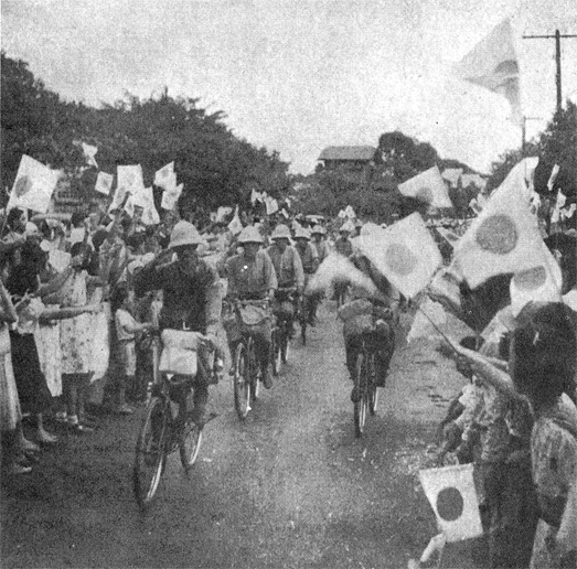 The Japanese cavalry coming into Manila on bicycles