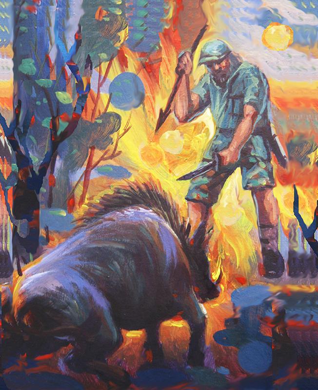 Artist Gene de Loyola's interpretation of the confrontation between hunter and wild boar. (Oil on canvas by Gene De Loyola)