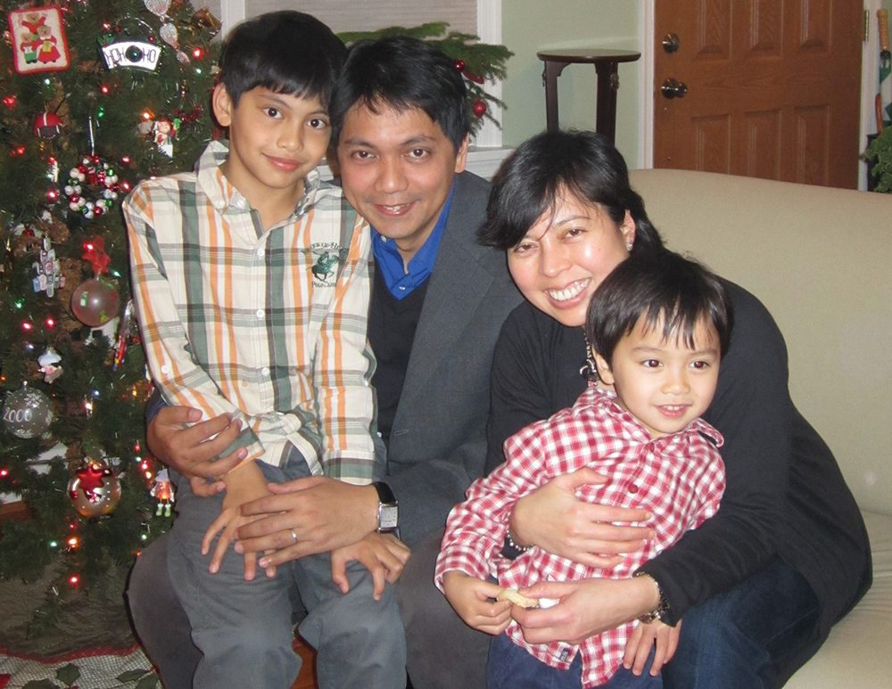 Titchie Carandang-Tiongson with husband, Erwin and sons Nicolas and Rafael. (Photo courtesy of Titchie Carandang-Tiongson)