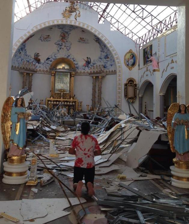 The Odlot church in ruins after Typhoon Yolanda/Haiyan  (Photo courtesy of Cecilia Manguerra Brainard)