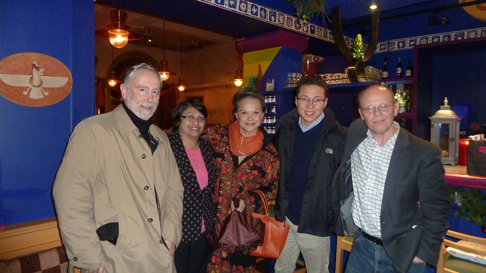 Typhoon Haiyan/Yolanda fundraiser attendees at Cafe Spice Namaste (L-R): Jose Macicior, Pervin Todiwala, Isabel Aspillera, Henry Consing McAdam, and Ken McAdam  (Photo by Gina Consing McAdam)