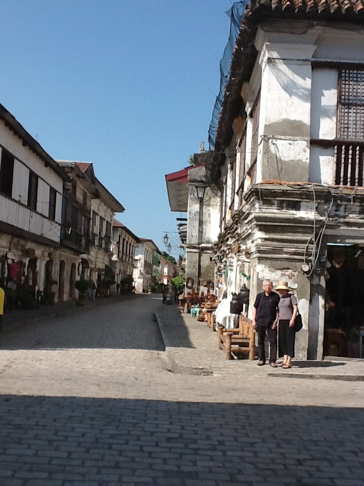 Crisologo Street in Vigan, with the author and his wife Midori (Photo courtesy of Luis Francia)