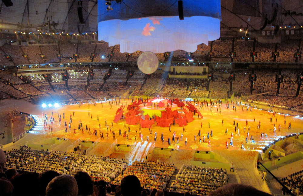 The Vancouver 2010 opening ceremony as seen from a Category C seat.  For close-ups, bring your binoculars or look up at the big Jumbotron screens.  (Photo courtesy of Seth Barlow)