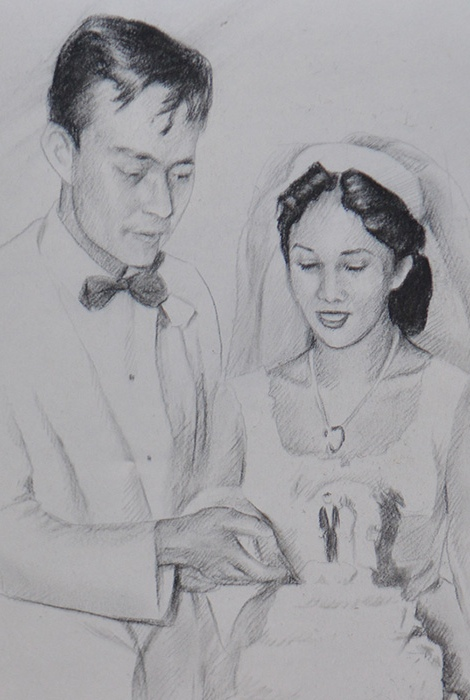 Sketch of Fred and Dorothy Cordova at their wedding (Photo from the Cordova Memorabilia Exhibit)