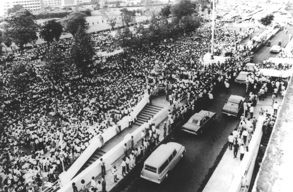 "The large student rally which called for for a non-partisan Constitutional Convention led by the NUSP in front of Congress that triggered the First Quarter Storm. (Source: ""UG: An Underground Tale"" by Benjamin Pimentel)"