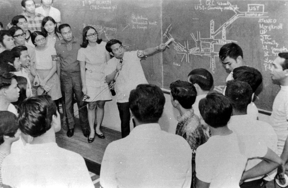 "Student leader Edgar Jopson at a briefing before the rally before Congress on January 26, 1970  (Source: ""UG: An Underground Tale"" by Benjamin Pimentel)"