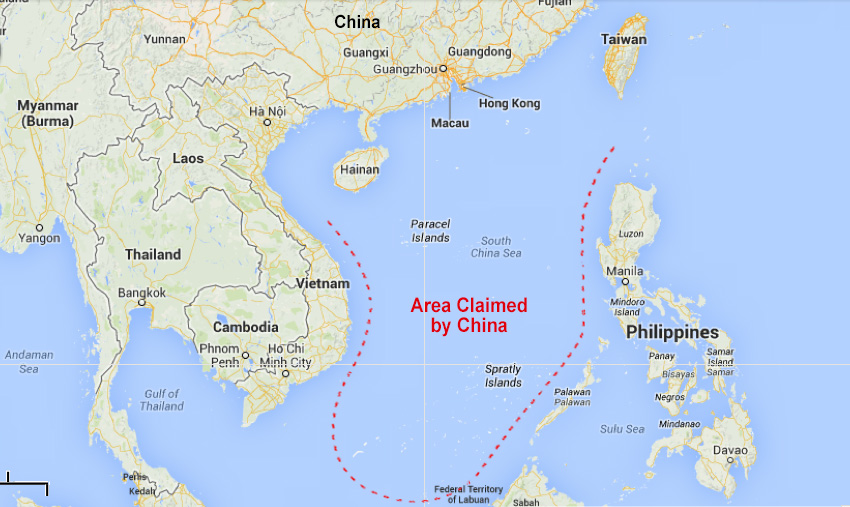 The area disputed by the Philippines, Vietnam and China  (Source: Google Maps)
