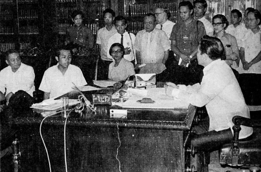 "Student leader Edgar Jopson (seated, 2nd from left) in face-to-face meeting with President Ferdinand Marcos, asking him not to run for a third term and to put it in writing. Marcos answered: ""Who are you to tell me what to do? You're only a son of a grocer!"", January 30, 1970.  (Source: Mar M. Galang)"