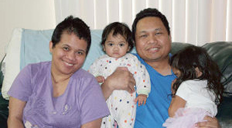 The Nanez family, Jojo, 38, Emilyn, 34, and their two daughters face deportation to the Philippines after Emilyn got sick and is in danger of losing her working visa.  (Photo by the Gonzales Inquirer).