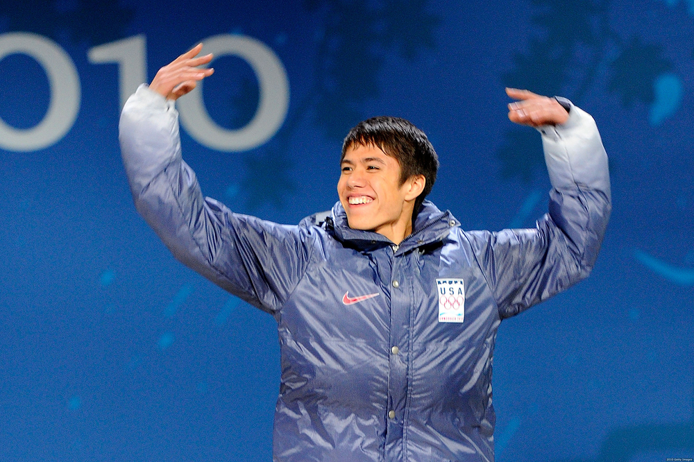 J.R. Celski, the first and so far, lone part-Filipino winter Olympian with medals to his name (bronze in the 1500m short-track race; and another bronze as part of the 5000m US men's relay team; both Vancouver 2010.)  Will he repeat for medals in Sochi? (Source: Getty Images / Photo by  Kevork Djansezian)