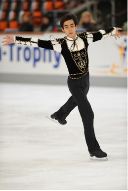 "Martinez at the Nebelhorn Trophy qualifying event in Germany, September 2013.  This was his short program outfit, skated to the ""Theme from Romeo and Juliet"" by Nino Rota.  He came in 7th; which qualified him for a spot in Sochi.  (Photo by Johann Welnic)"