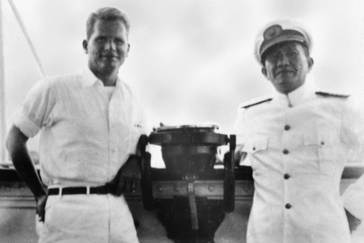 Clif Forster and Capt. Tamayo aboard the Mactan, c.1941 (Source: manilanostalgia.com)