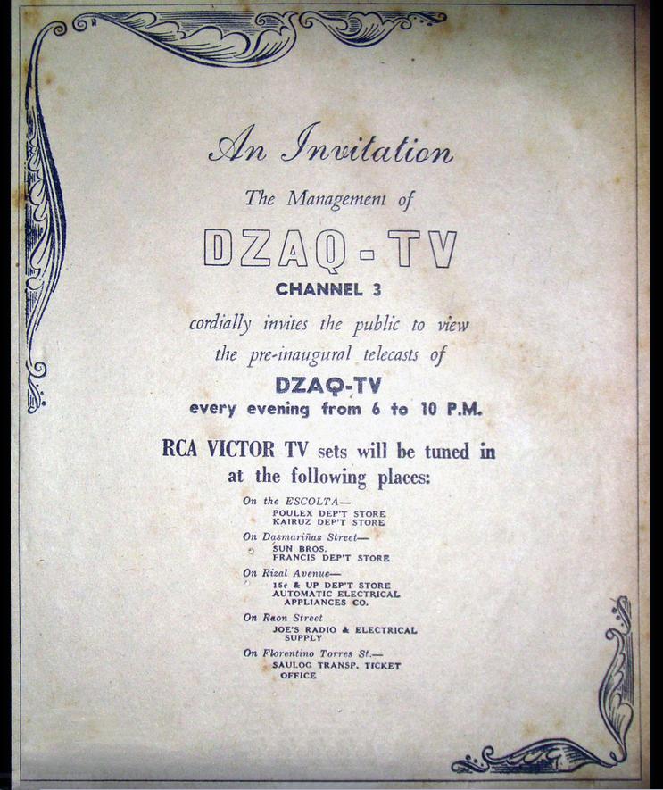 DZAQ-TV starts broadcasting, 1953 (Source: manilanostalgia.com)