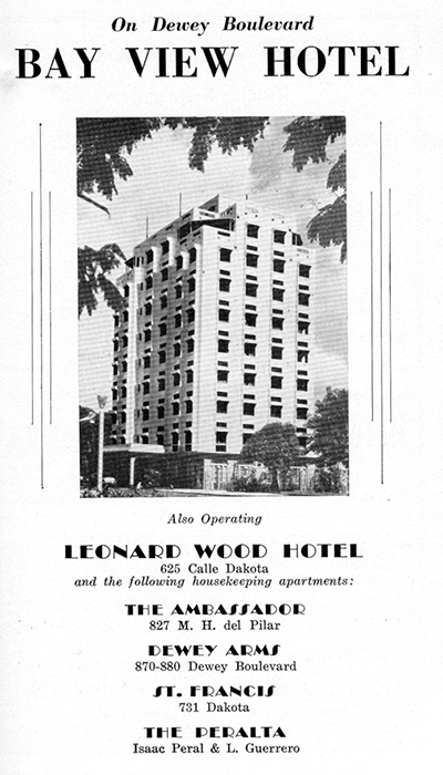 Advertisement for the Bay View Hotel(Source: manilanostalgia.com)